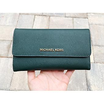 Michael kors jet set travel large trifold wallet racing green