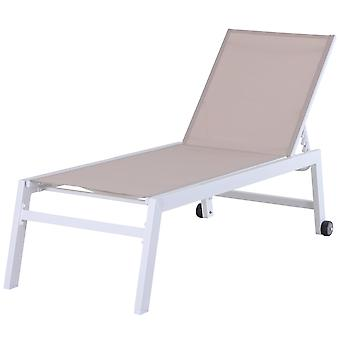 Outsunny Textilene Chaise Lounge Recliner Chair w/Adjustable Backrest Sun Bed Lounger Padded w/ Wheels Patio Furniture White