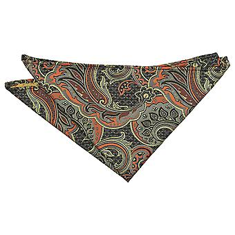 Abrikoos Oranje Palm Paisley Pocket Square