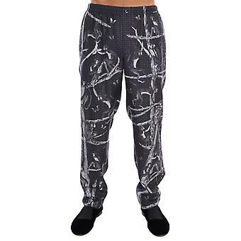 Dolce & Gabbana Gray Monkey Print Silke Pyjamas Bukser