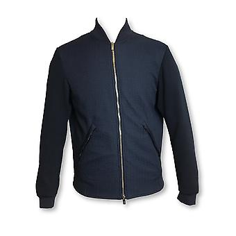 Armani Collezioni waffle textured bomber jacket in navy/blue