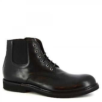 Leonardo Shoes Men-apos;s lace-ups à la cet des mains bottines en cuir de veau noir zip