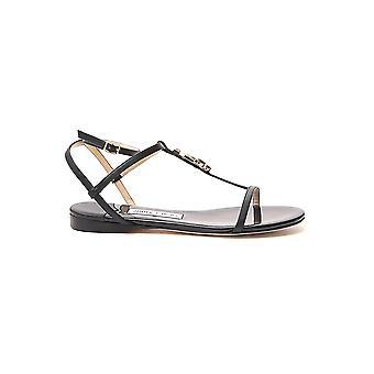 Jimmy Choo Alodieflatnpablack Women's Black Leather Sandals