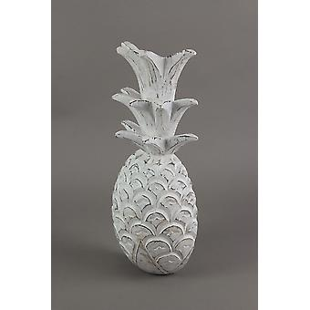 10 Inch White Pineapple Hanging Wall Art Carved Wood Sculpture Home Decor Plaque