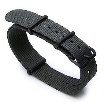 Strapcode n.a.t.o horlogeband 20mm warmte verzegeld zware nylon 316l ip zwarte gesp - grijs-groen