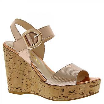 ليوناردو أحذية النساء & أبوس؛ق اليدوية عالية أسافين الصنادل في مشبك الجلد النحاس
