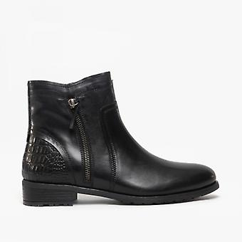 Cipriata Denise damer läder zip fotled stövlar svart