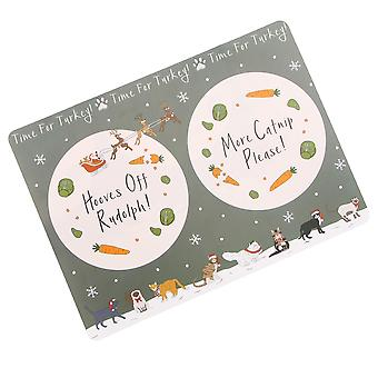 Paws For Thought Time For Turkey Christmas Cat Feeding Placemats