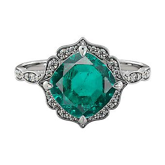 14K White Gold 3.25 ctw Emerald Ring with Diamonds Flower Leaves Halo