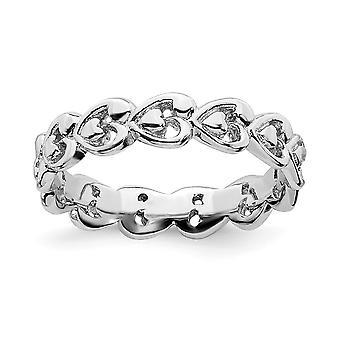 925 כסף סטרלינג בדוגמת אהבה מלוטש לב Stackable טבעת מתנות לנשים - גודל טבעת: 5 עד 10