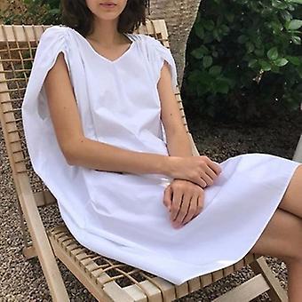 Sleeveless V Neck High Waist Asymmetrical Dress