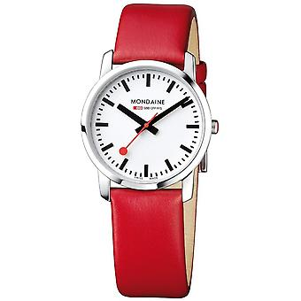 蒙代尔简单优雅的红色皮革表带女士_apos;手表 A400.30351.11SBC 36mm