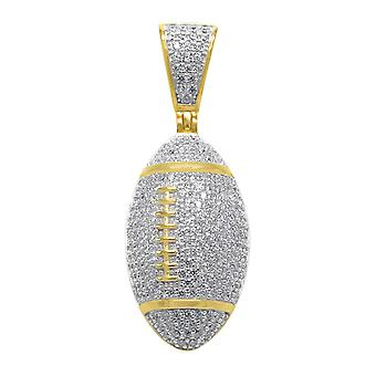 925 sterling silver micro pave pendants - gold FOOTBALL
