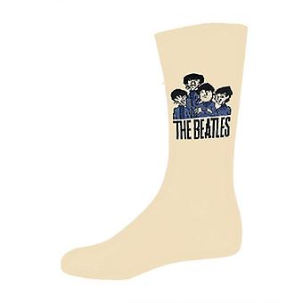 The Beatles Cartoon Group Official Womens New Beige Socks (UK Size 4-7)