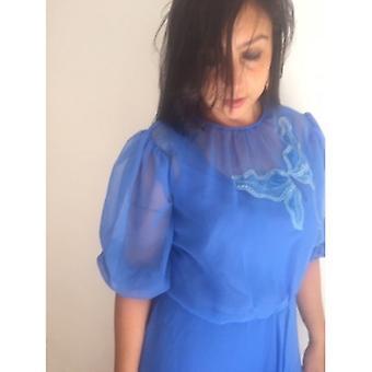حجم L / xl الأزرق المطرز موسسيلين كامل Lenght اللباس