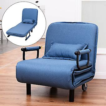 2-in-1 Single Folding Sofa Bed Chair Fabric Sleep Function Pillow & Wheels Blue