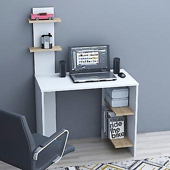Eren Desk White Color, Eiken in Melaminic Chip, L91xP50xA140 cm