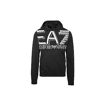 EA7 by Emporio Armani Cotton Overhead Black Hoodie