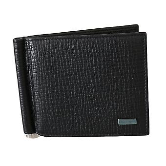 Black patterned leather cardholder bifold men wallet