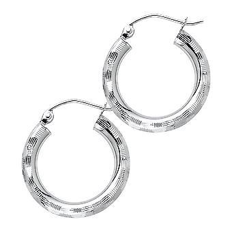 14k White Gold 3mm Sparkle Cut Hoop Earrings Jewelry Gifts for Women - 1.4 Grams