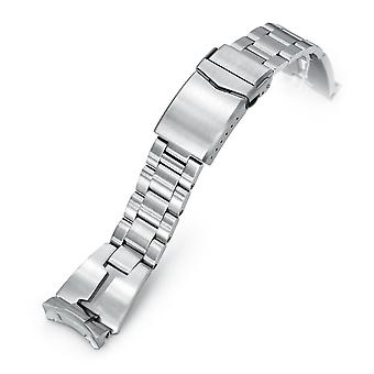 Strapcode watch bracelet 22mm retro razor 316l stainless steel watch bracelet for seiko 5, brushed v-clasp