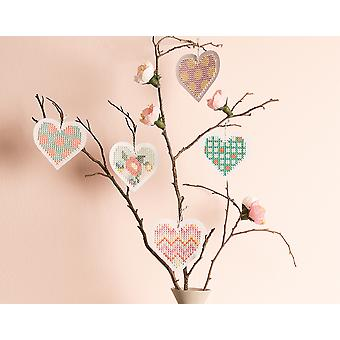 8 Love Heart Shaped Embroidery Cross Stitch Boards - Valentines Crafts
