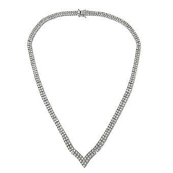 GP White Diamond Sterling Silver Platinum Vergulde Tennis Ketting Blue Sapphire