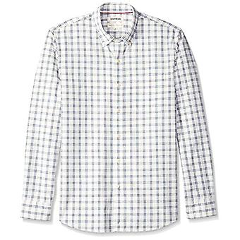 Goodthreads Men's Standard-Fit Long-Sleeve Plaid Chambray Shirt, White/Blue, ...