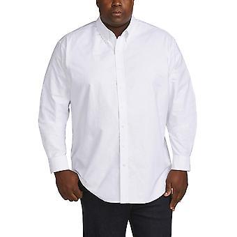 أساسيات الرجال & apos&ق كبيرة وطويلة القامة قميص أكسفورد طويل الأكمام تناسب DXL, أبيض...