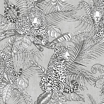 Mamboa Leopard Wallpaper Grey Muriva 173521