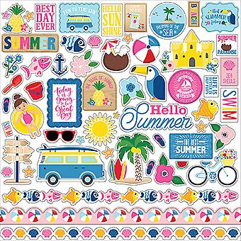 Echo Park ich liebe Sommer 12 x 12 Zoll Element Aufkleber