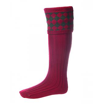 House of Cheviot Country Socks Chessboard ~ Brick Red