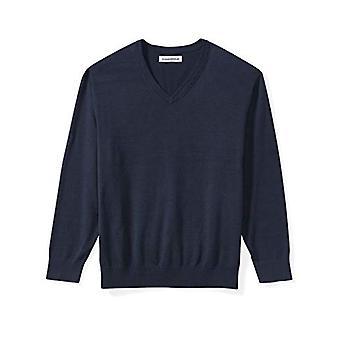 Essentials Men's Big & Tall V-Neck Sweater fit by DXL, Navy, 5X Tall
