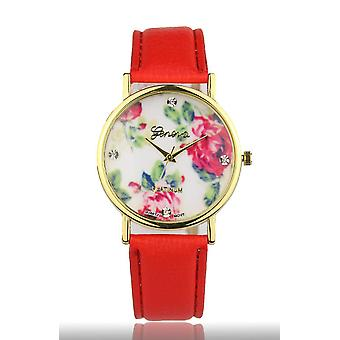 Red Women's Watch from Geneva flower swarovski crystal leather