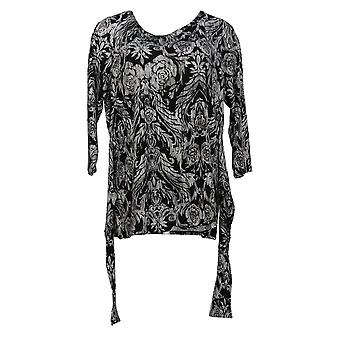 Belle by Kim Gravel Women's Top Tie Front Print Knit Top Black A372048