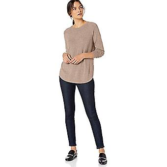 Brand - Lark & Ro Women's Crew Neck Shirttail Hem Sweater, Dark Oatmea...