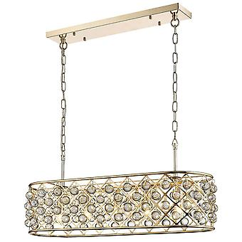 5 Light Oval Ceiling Pendant Gold, Clear with Crystals, E14