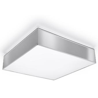 3 Light Flush Square Ceiling Light Silver, E27