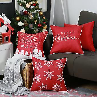 """Satz von 4 18 """" Frohe Weihnachten werfen Kissenbezug in Multicolor"""