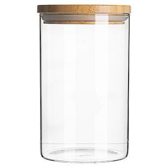 צנצנת זכוכית עם מיכל אחסון מכסה עץ - מיכל אטום עגול בסגנון סקנדינבי - 1 ליטר