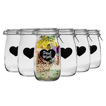 Nicola Spring Home Preserving Bundle - Set of 6 Embossed Heart Food Jam Storage Jars with Seals, Chalkboard Labels - 1.5L