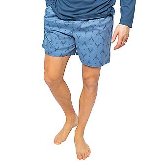 Cyberjammies Arthur 6529 Mænd's Blue Mix Stag Print Pyjama Short