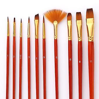 Nylon Hair Short Rod Paint Brushes-professional Art Supplies