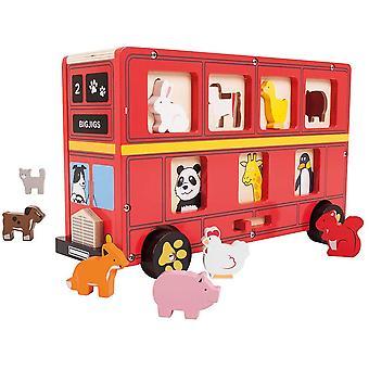 Bigjigs Toys Educational Wooden Red Bus Sorter