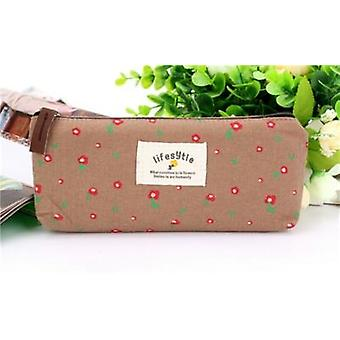 Cute Kawaii Floral Flower Canvas Zipper Pencil Cases - Lovely Fabric Flower