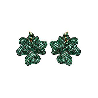 Flower Large Statement Stud Earrings Emerald Green Gold White CZ Bridal Wedding