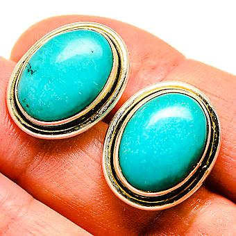 "Tibetische Türkis Ohrringe 3/4 "" (925 Sterling Silber) - handgemachte Boho Vintage Schmuck EARR407649"