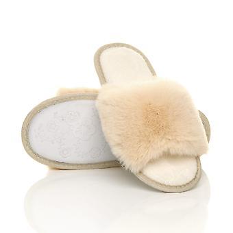 Ajvani kvinders fluffy indendørs sandaler vaskbare pip tå hjemmesko dias