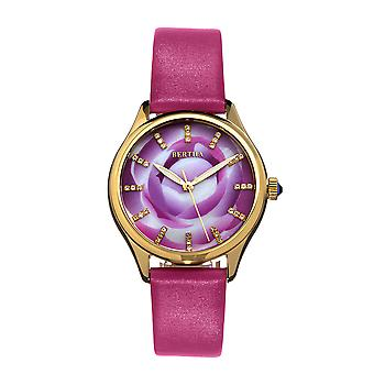 Bertha Georgiana Mother-Of-Pearl Leather-Band Watch - Gold/Pink