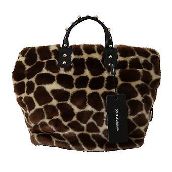 Brown giraffe print shopping beatrice purse tote bag